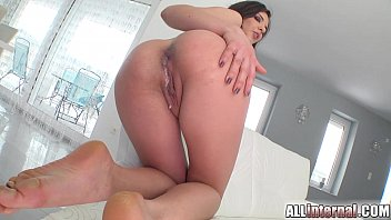 Anal sex and anal Creampie MILF and cuckold eats creampies from her ass after lover cums inside her