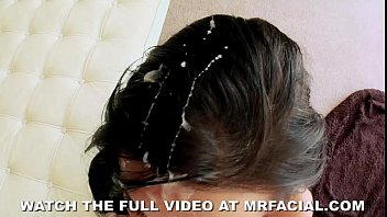 Girl gets covered in cum