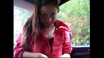 Solo Beauty Girl Fuck Pussy in a car in the parking lot
