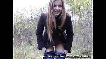 15 minutes of uncut sex with this horny teen in public square - Exhibitionist public sex